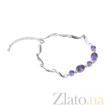 Серебряный браслет с фиолетовыми фианитами Ванесса 000025890