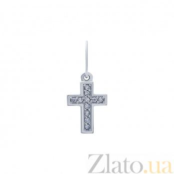 Серебряный крест с фианитами Таинство души AQA--ПХд-096