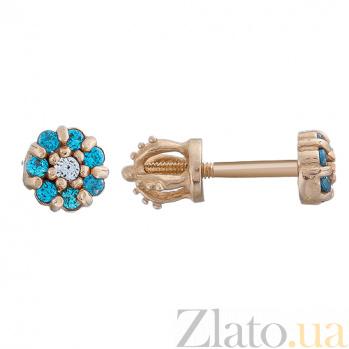 Золотые серьги-пуссеты с голубыми фианитами Незабудки LEL--80294