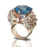 Золотое кольцо Глафира с голубым топазом
