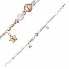 Золотой браслет Романтическое настроение с белой керамикой