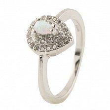 Серебряное кольцо Лилиан с опалом и фианитами