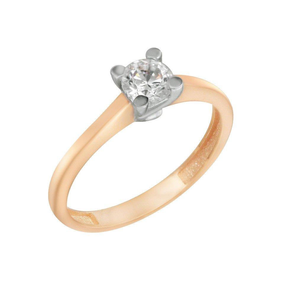 Золотое помолвочное кольцо Галиами в комбинированном цвете с белым фианитом