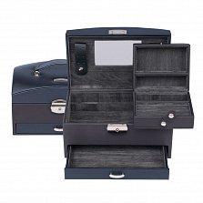 Сине-серая шкатулка для украшений WindRose Shape с выдвижным отделением и зеркалом