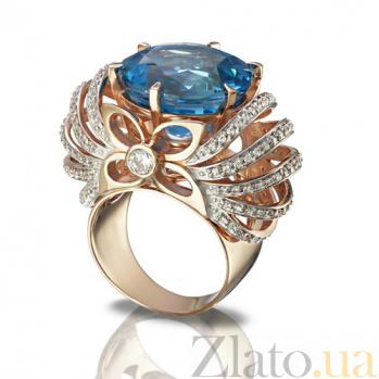 Золотое кольцо Глафира с голубым топазом TNG--371655