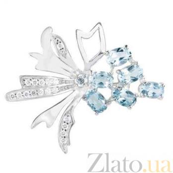 Серебряная брошь с фианитами и голубыми топазами Маралин 000027107