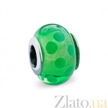 Серебряная бусина с муранским стеклом Любимый зеленый AQA--DK073
