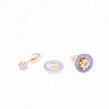 Золотые сережки-трансформеры с голубой эмалью и фианитом 000050801