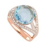 Золотое кольцо Армель с голубым кварцем и фианитами