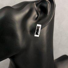 Серебряные серьги Черная дуга с эмалью и родием