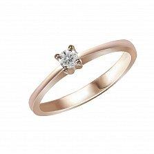 Кольцо из красного золота Милая с бриллиантом 0,1ct
