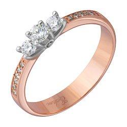 Золотое кольцо Богема в комбинированном цвете с бриллиантами