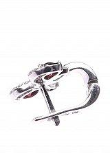 Серебряные серьги Бантик с гранатом и фианитами
