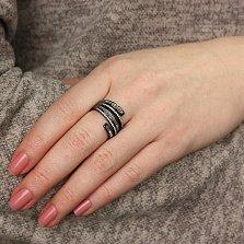 Серебряное кольцо Шарлин с черным родием и фианитами