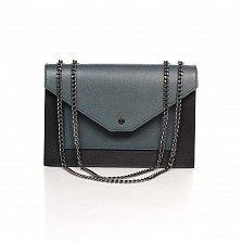 Кожаный клатч Genuine Leather 8415 серо-черный цвета клапаном на кнопке-магните