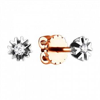 Золоті сережки в комбінованому кольорі з діамантами 000123418