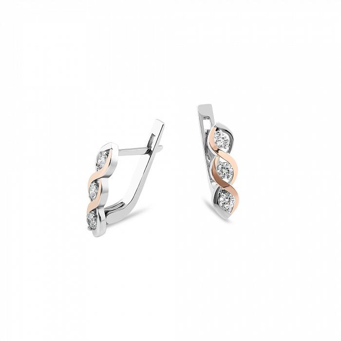 Серебряные серьги Роберта с золотыми вставками и фианитами 000082144