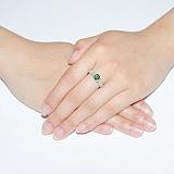 Серебряное кольцо Флори с зеленым кварцем