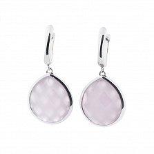 Серебряные серьги-подвески Жозефина с розовым кварцем