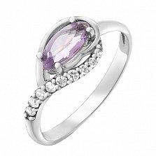 Серебряное кольцо Дайкири с аметистом и фианитами
