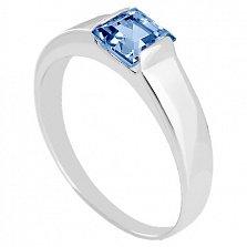 Золотое кольцо в белом цвете с голубым топазом Аделина