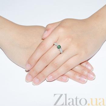 Серебряное кольцо Флори с зеленым кварцем и фианитами 1743/9р зел кварц