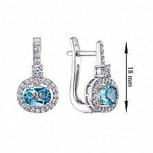 Серебряные серьги Франческа с голубым топазом и фианитами