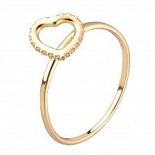Кольцо в желтом золоте Любовь с фианитами