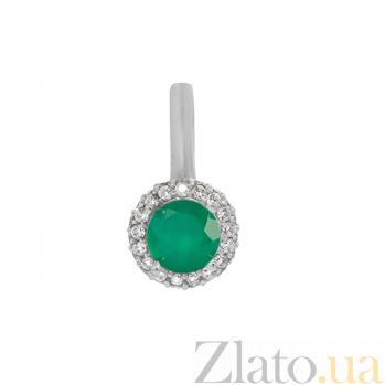 Серебряный подвес Аля с зеленым агатом и фианитами 000029178