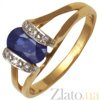 Кольцо из красного золота Герра с сапфиром и бриллиантами 000021185