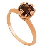 Золотое кольцо с раухтопазом и фианитами Милдред