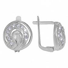 Серебряные серьги  с фианитом Очарование