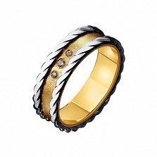 Золотое обручальное кольцо Романтичное настроение с фианитами