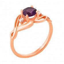 Узорное кольцо из красного золота с аметистом и фианитами 000131326