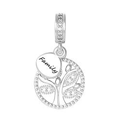 Серебряный шарм Семейное древо с цирконием 000072556