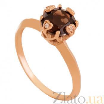 Золотое кольцо с раухтопазом и фианитами Милдред VLN--112-1799-2