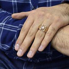 Золотой перстень Донат с узорами и белыми фианитами