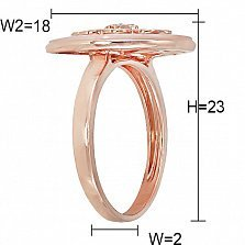 Кольцо из красного золота Таисия с бриллиантами и розовым перламутром