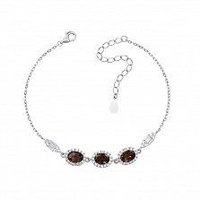 Серебряный браслет с раухтопазами и фианитами 000133452