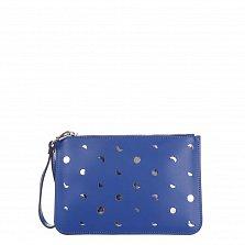Кожаный клатч Genuine Leather 1536 синего цвета с перфорацией и короткой ручкой для запястья
