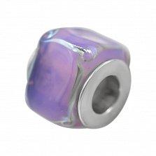 Серебряный шарм Леденец с фиолетовым муранским стеклом