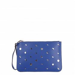 Кожаный клатч Genuine Leather 1536 синего цвета с перфорацией и короткой ручкой для запястья 0000926