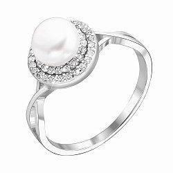 Серебряное кольцо с жемчугом и фианитами 000132574