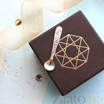 Серебряный компактный сувенир Ложка-загребушка со сплюснутым ковшиком 000020218