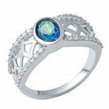 Серебряное кольцо Янина с топазом мистик и фианитами