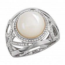 Кольцо в белом золоте Изольда с перламутром и бриллиантами