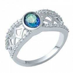 Серебряное кольцо с топазом мистик и фианитами 000074791
