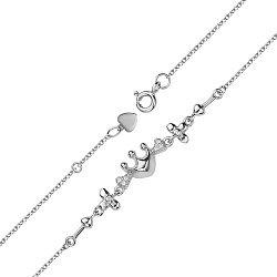 Серебряный браслет Королевский микс со стрелками, цветами, сердечками, короной и фианитами