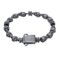 Серебряный черненый браслет Memento mori со звеньями-черепами