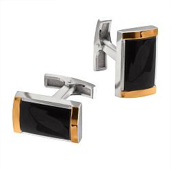 Серебряные запонки Элвис с черным ониксом и золотыми накладками